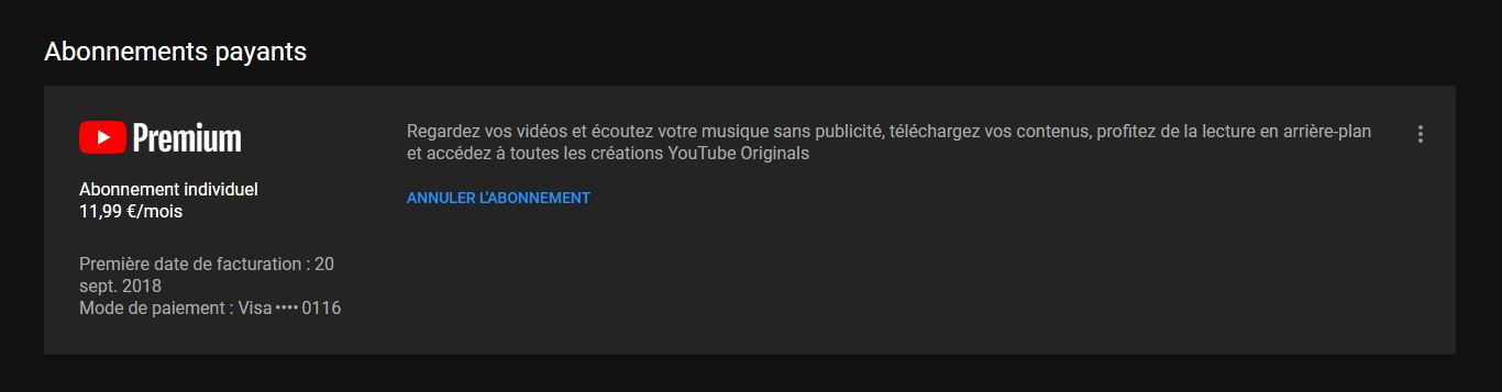 Désabonnement Youtube Premium